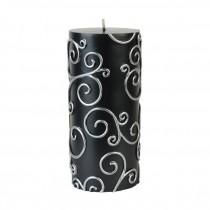 "3 x 6"" Black Scroll Pillar Candle"