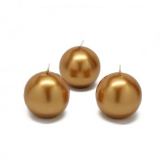"2"" Metallic Bronze Gold Ball Candles (96pcs/Case) Bulk"