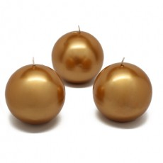 "3"" Metallic Gold Ball Candles (6pc/Box)"