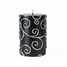 "3 x 4"" Black Scroll Pillar Candle"