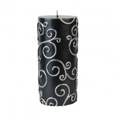 "3 x 6"" Black Scroll Pillar Candle"