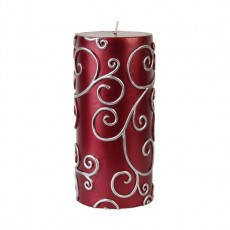 "3 x 6"" Red Scroll Pillar Candle"
