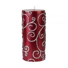 "3 x 6"" Red Scroll Pillar Candle (12pcs/Case) Bulk"