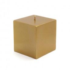 "3 x 3"" Metallic Bronze Gold Square Pillar Candles (12pcs/Case) Bulk"