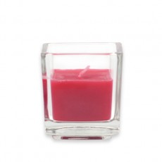 Red Square Glass Votive Candles (12pc/Box)