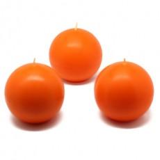 "3"" Orange Ball Candles (36pcs/Case) Bulk"