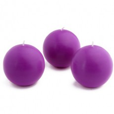 "3"" Purple Ball Candles (36pcs/Case) Bulk"