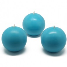 "3"" Turquoise Ball Candles (6pc/Box)"