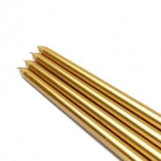 "12"" Metallic Gold Taper Candles (144pcs/Case) Bulk"