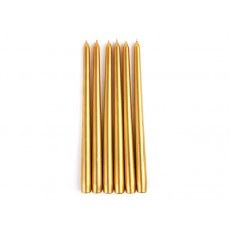 "12"" Metallic Bronze Gold Taper Candles (1 Dozen)"
