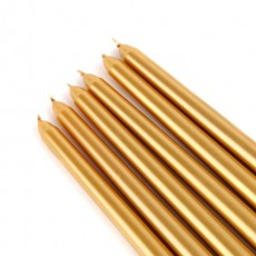 "12"" Metallic Bronze Gold Taper Candles (144pcs/Case) Bulk"
