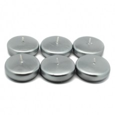 """2 1/4"""" Metallic Silver Floating Candles (24pc/Box)"""