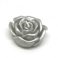 """3"""" Metallic Silver Rose Floating Candles (144pcs/Case) Bulk"""