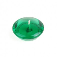 "3"" Clear Hunter Green Gel Floating Candles (6pc/Box)"