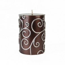"3 x 4"" Brown Scroll Pillar Candle"