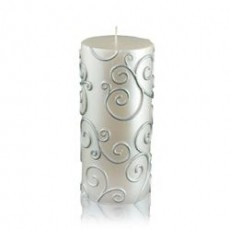 "3 x 6"" White Scroll Pillar Candle"