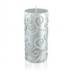 "3 x 6"" Silver Scroll Pillar Candle"