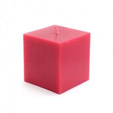 "3 x 3"" Red Square Pillar Candles (12pcs/Case) Bulk"