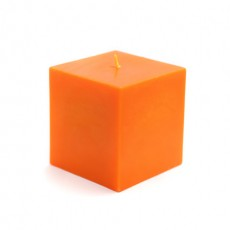 "3 x 3"" Orange Square Pillar Candles"