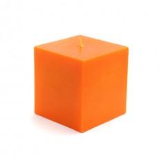 "3 x 3"" Orange Square Pillar Candles (12pcs/Case) Bulk"
