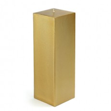 "3 x 9"" Metallic Bronze Gold Square Pillar Candle (12pcs/Case) Bulk"