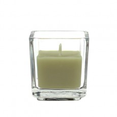 Sage Green Square Glass Votive Candles (12pc/Box)